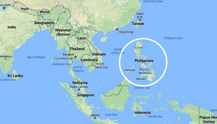 Philippines located in Southeast Asia encircled in white SS01062017